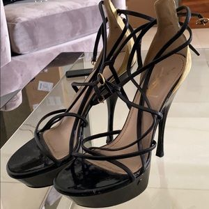 YSL patent leather black and nude straps heels